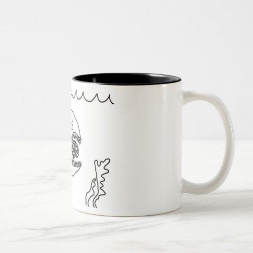 Fish Eats Brain Coffee Mugs