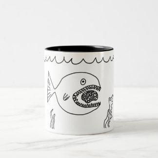Fish Eats Brain Two-Tone Coffee Mug