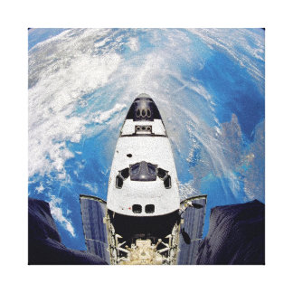 Fish Eye View Space Shuttle Atlantis Earth Orbit Canvas Print
