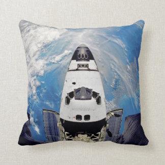 Fish Eye View Space Shuttle Atlantis Earth Orbit Throw Pillow