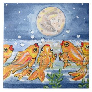 "Fish Family & Moon Blue 6"" Tile Trivet"