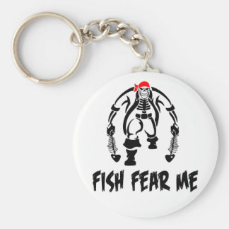 Fish Fear Me Pirate Basic Round Button Keychain