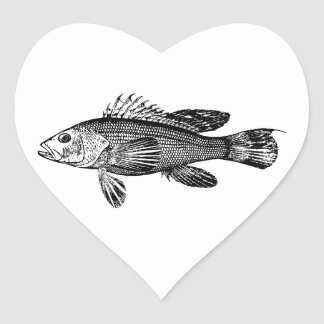 Fish Fisherman Sea Collection Heart Sticker