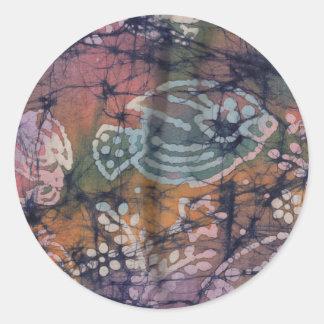 Fish & Floral Tie-Dye Batik Round Sticker