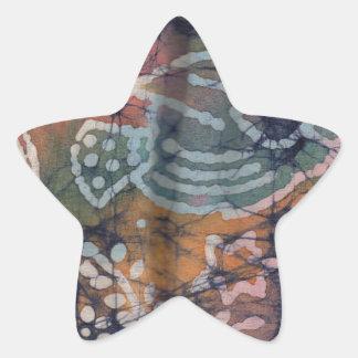 Fish & Floral Tie-Dye Batik Star Sticker