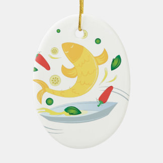 Fish Fry Ceramic Oval Ornament