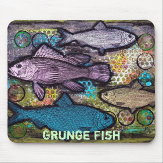 Fish, Grunge Fish Mousepad