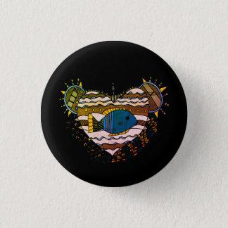 Fish Heart 1 Inch Round Button