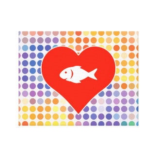 Fish Icon Stretched Canvas Prints