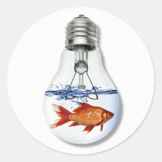 Fish in a Light Bulb Aquarium | Fish Tank Classic Round Sticker