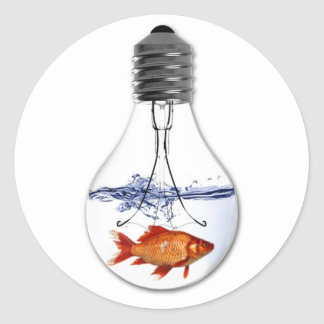 Fish in a Light Bulb | quirky Goldfish Design Classic Round Sticker