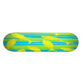 Fish in Blue, Green and Yellow Striped Tank Custom Skate Board