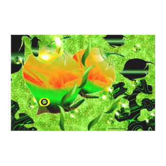 Fish  in Green Ocean  - Canvas Print