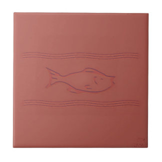 fish in motion simulated etched clay tile design