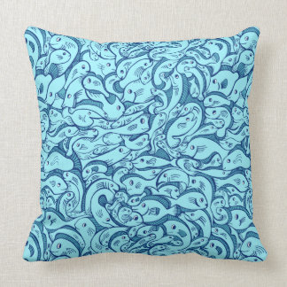Fish in the Sea Blue Throw Pillow