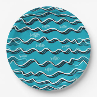Fish in the Water on Paper Plates 9 Inch Paper Plate