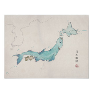 Fish Japan map (unlabeled) Poster