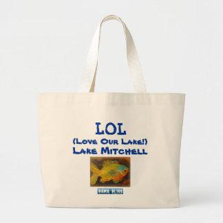 """Fish Jumbo Tote Bag """"LOL Lake Mitchell"""""""