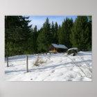 Fish Lake Remount Depot Cabin in Snow, Woods Poster