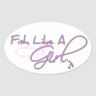 Fish Like A Girl (Salmon) Oval Sticker