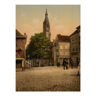 Fish Market and New Church, Delft, Netherlands Poster