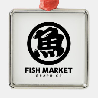 FISH MARKET GRAPHICS LOGO Silver-Colored SQUARE ORNAMENT