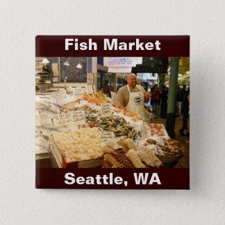 Fish Market Seattle WA 2 Inch Square Button