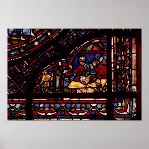 Fish merchants, detail from a window print