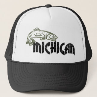 FISH MICHIGAN VINTAGE LOGO TRUCKER HAT