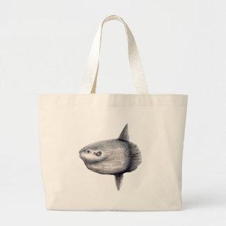 Fish moon large tote bag