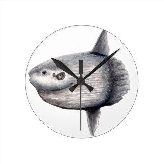 Fish moon round clock