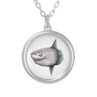 Fish moon silver plated necklace