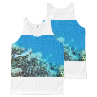 Fish moving over the reef All-Over-Print tank top