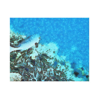 Fish moving over the reef canvas print