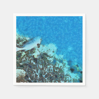 Fish moving over the reef disposable napkin