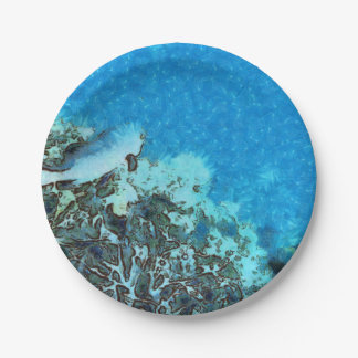 Fish moving over the reef paper plate