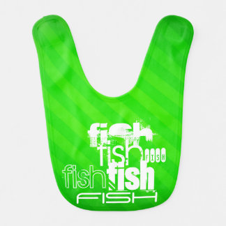Fish; Neon Green Stripes Bib
