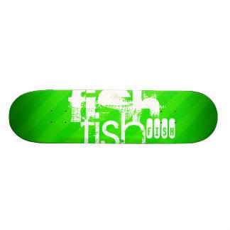 Fish; Neon Green Stripes Skate Board Deck