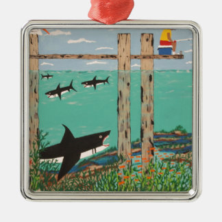 Fish Not Biting Today. Silver-Colored Square Ornament