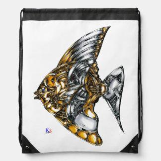 "Fish of opus number 20151028000c ""machine"" drawstring bag"