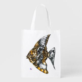 "Fish of opus number 20151028000c ""machine"" reusable grocery bag"