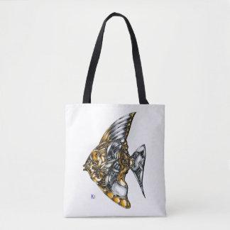 """Fish of opus number 20151028000c """"machine"""" tote bag"""