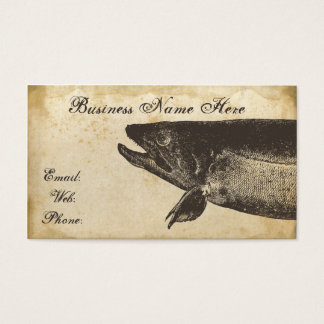 Fish Old Grungy Paper Business Card