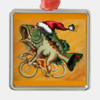 Fish on a Bicycle For X-mas Metal Ornament
