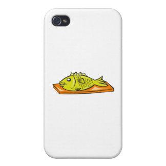 Fish On Chopping Board Cartoon iPhone 4/4S Case