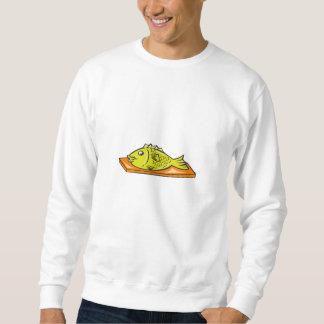 Fish On Chopping Board Cartoon Sweatshirt