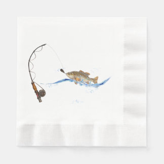 fish on fishing line paper napkin