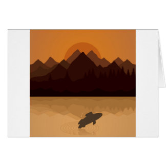 Fish on lake card