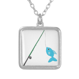 Fish On Pole Silver Plated Necklace