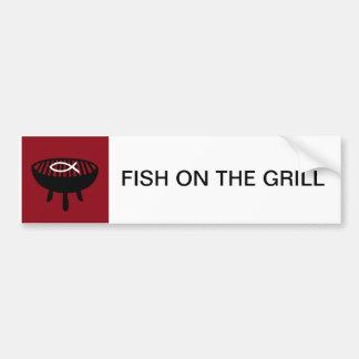 Fish on the grill bumper sticker
